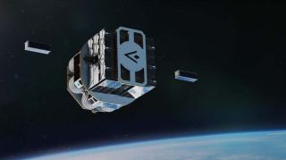 An illustration of the Launcher Orbiter spacecraft in its modular CubeSat deployer configuration (90U available), deploying two