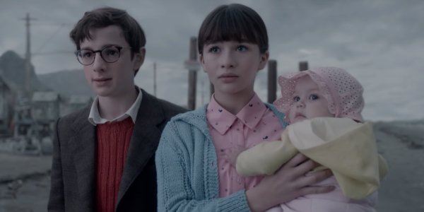 Violet, Klaus and Sunny in A Series of Unfortunate Events Netflix show