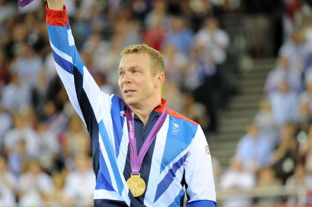 Sir Chris Hoy on podium, London 2012 Olympic Games, track day six