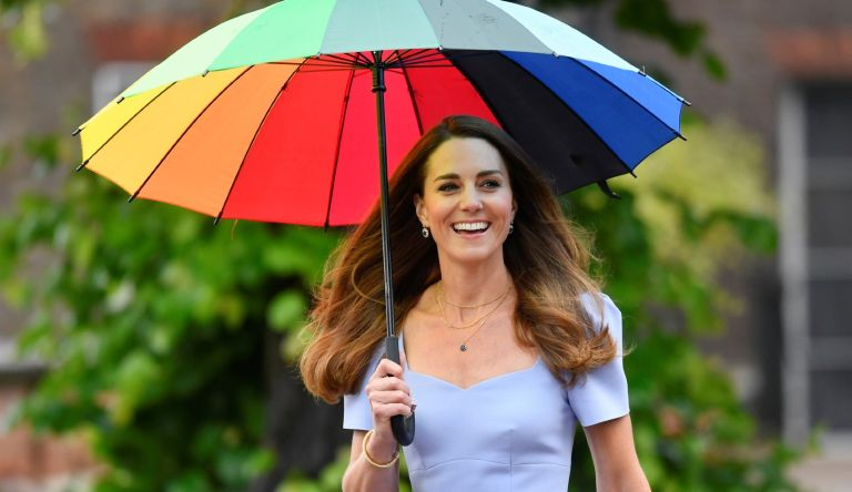 Catherine, Duchess of Cambridge arrives at a reception to meet parents of users of a Centre for Early Childhood in the grounds of Kensington Palace on June 18, 2021 in London, England.