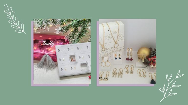 two of w&h's best jewelry advent calendars on a green background with festive decorations