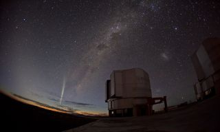 European Southern Observatory optician Guillaume Blanchard captured this marvellous wide-angle photo of Comet Lovejoy on 22 December 2011 as it appeared over Paranal Observatory in Chile.