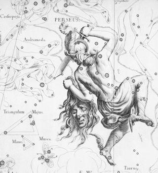 Johannes Hevelius' Perseus from Uranographia.