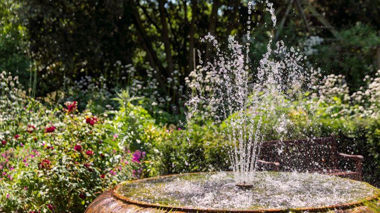 Garden fountain in summer