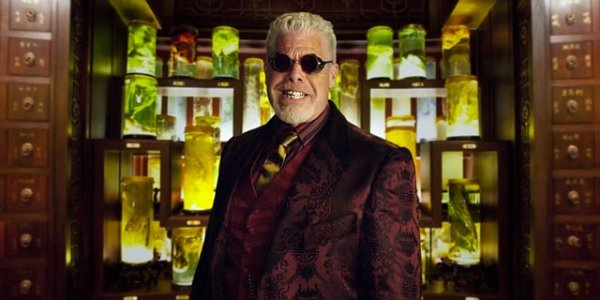 Pacific Rim Ron Perlman showing off his collection of Kaiju remedies