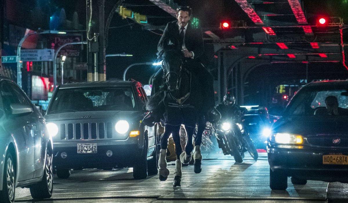 John Wick: Chapter 3 Parabellum John rides a horse through New York