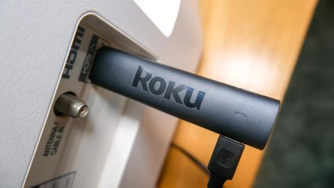 The Roku Streaming Stick 4K plugged into an HDMI port