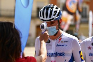Yves Lampaert's temperature is checked before the start of the Vuelta a Burgos