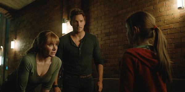 Claire, Owen and Maisie in Jurassic World: Fallen Kingdom