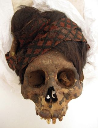 paracas necropolis mummy red headdress
