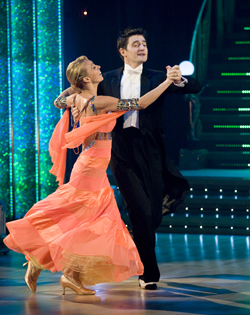 The couple's quickstep wowed the judges and landed them at the top of the scoreboard