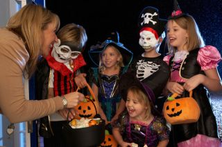 Kids Trick-Or-Treating in Costumes