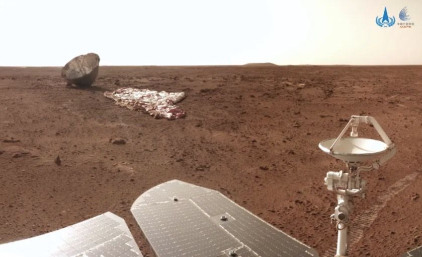 China's Mars rover Zhurong just found its parachute and backshell (video)