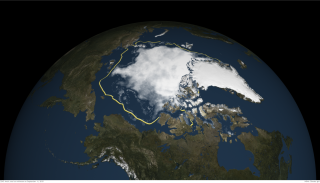 Arctic sea ice reached its fourth-lowest extent on record on Sept. 11, 2015.