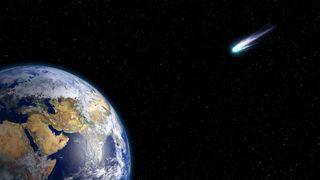 Artist's rendering of a comet headed toward Earth.