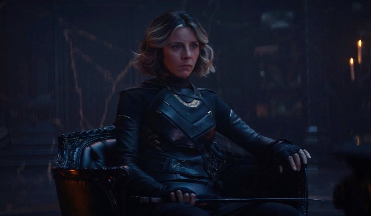 Sylvie sits and listens intently in the Citadel at the End of Time in Loki.