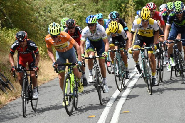 Lead group on the Corkscrew climb, Tour Down Under 2016 stage three