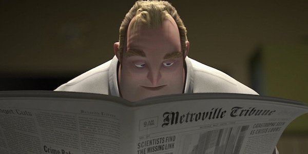 Bob Parr reading newspaper in The Incredibles