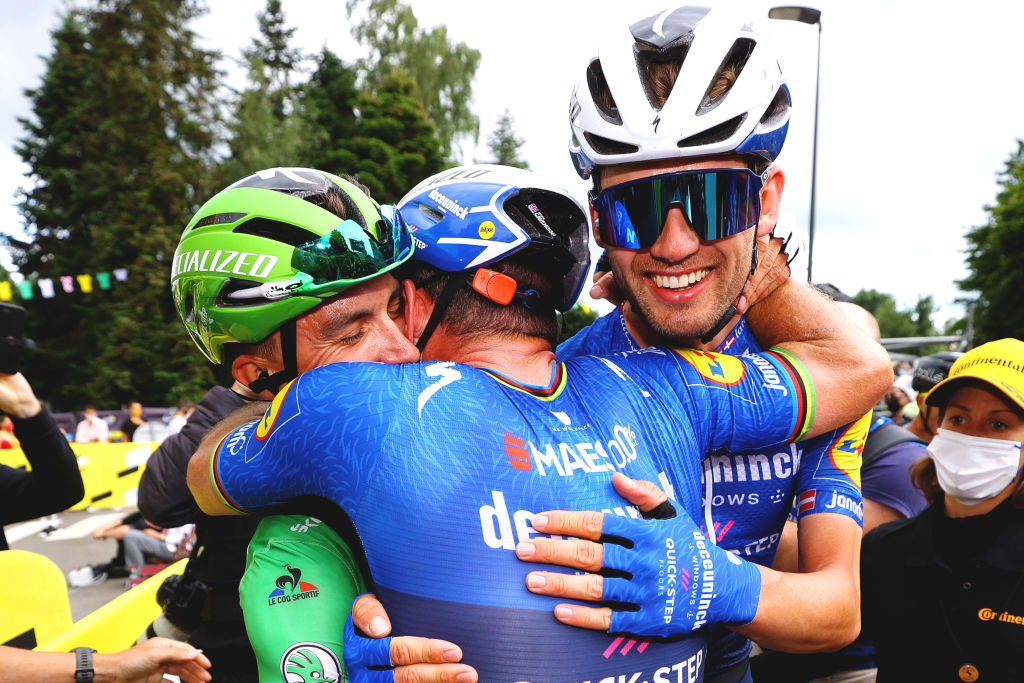 FOUGERES FRANCE JUNE 29 Mark Cavendish of The United Kingdom stage winner celebrates at arrival Kasper Asgreen of Denmark Julian Alaphilippe of France and Team Deceuninck QuickStep Green Points Jersey during the 108th Tour de France 2021 Stage 4 a 1504km stage from Redon to Fougres LeTour TDF2021 on June 29 2021 in Fougeres France Photo by Tim de WaeleGetty Images