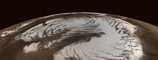 Mars, north pole, water, ice