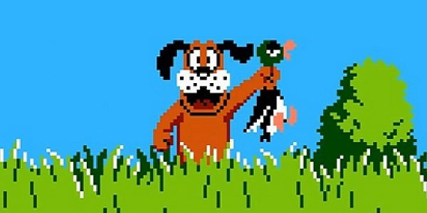 happy Duck Hunt dog holding duck