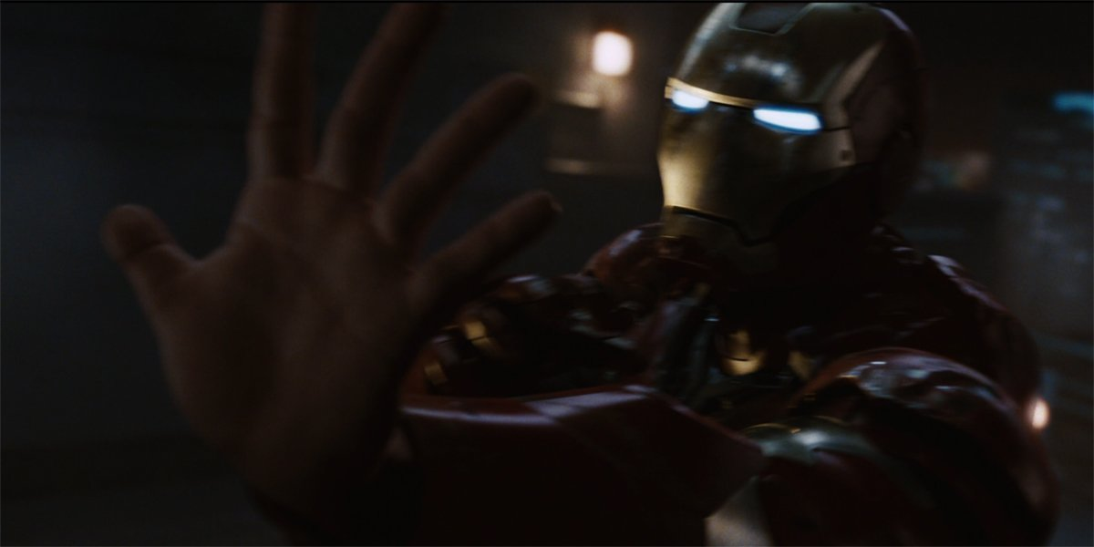Iron Man without his glove in Iron Man