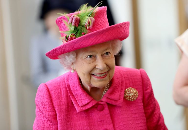 The Queen in a brightly coloured matching outfit
