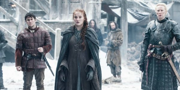 Podrick Payne, Sansa Stark, and Brienne of Tarth on Game of Thrones