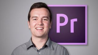 A smiling man in front of the Adobe Premiere Pro logo