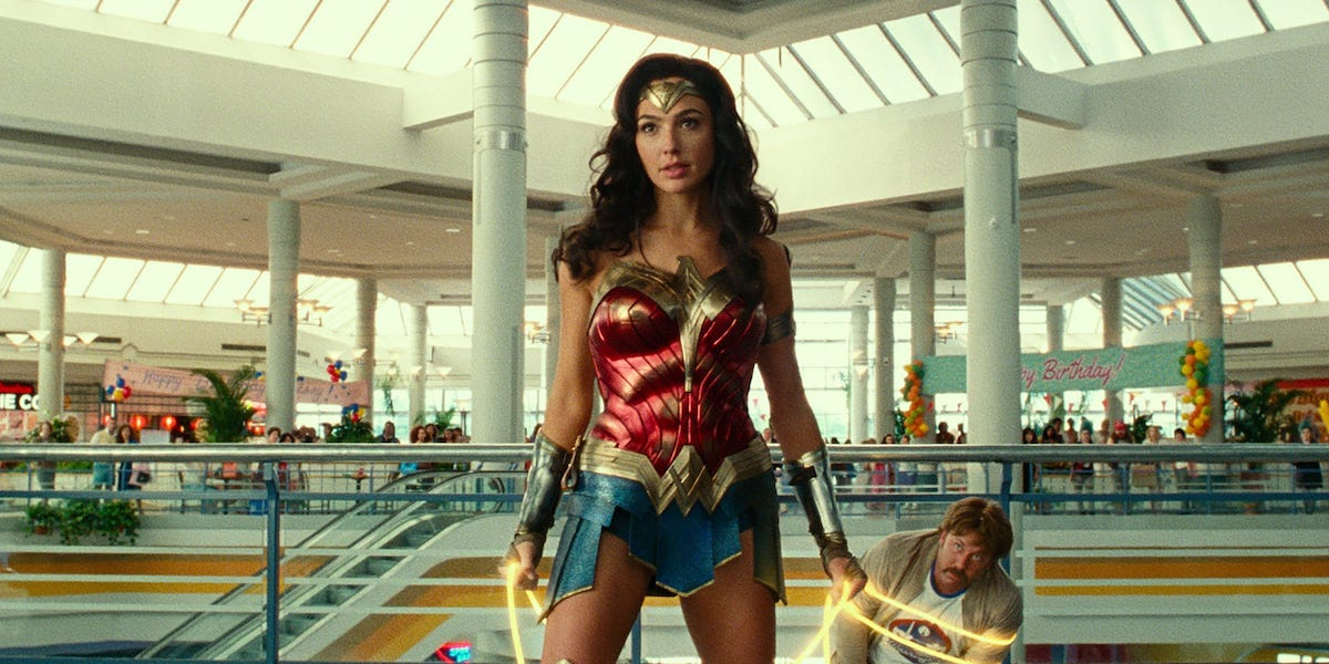 Wonder Woman in action in the mall in 1984