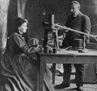 Marie Curie (1867 – 1934), one of just two female scientists to ever win a Nobel in physics, shown here in her lab with her husband and French chemist Pierre (1859 – 1906).