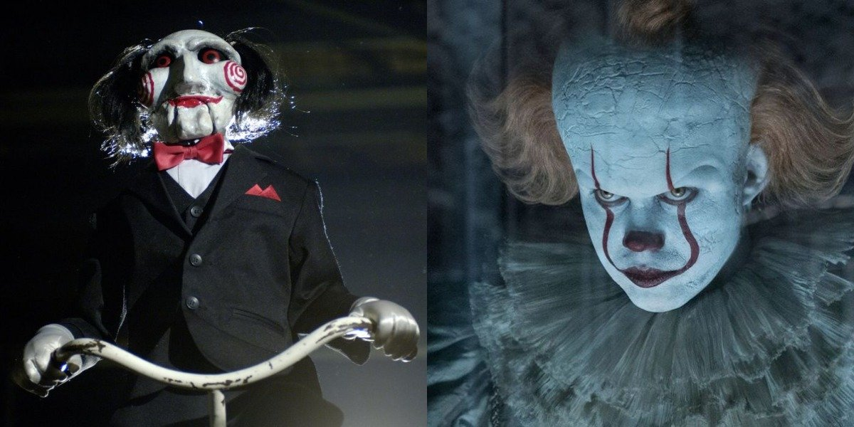Jigsaw from Saw and Pennywise from IT