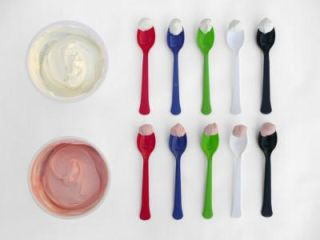 colored plates and spoons