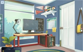 Cast Your Vote screenshot: Kid's room with desktop computer and pennants.