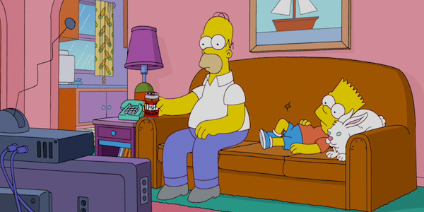 homer and bart watching tv