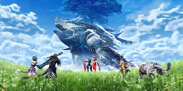 A titan soars through the air while the cast of Xenoblade Chronicles 2 looks on.