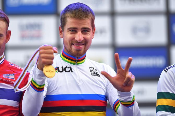 Peter Sagan with his third rainbow jersey