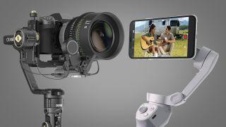 Zhiyun Crane 2S con una fotocamera e DJI OM 4 con uno smartphone