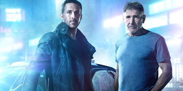Blade Runner 2049 Ryan Gosling Harrison Ford posing in the street
