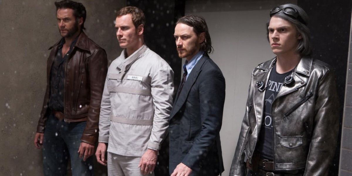 Hugh Jackman, Evan Peters, James McAvoy, and Michael Fassbender in X-Men: Days of Future Past