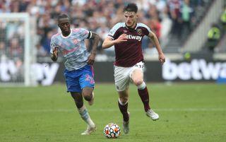 Manchester United defender Aaron Wan-Bissaka and West Ham midfielder Declan Rice