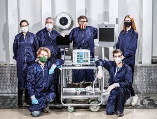 Some of the dozens of engineers involved in creating a ventilator prototype specially targeted to coronavirus disease patients at NASA's Jet Propulsion Laboratory in Southern California.