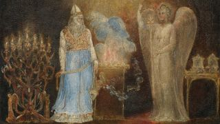 The Angel Appearing to Zacharias, 1799-1800, which illustrates verses from Luke (I:11.13), in which Gabriel appears to the righteous Zacharias, to announce Zacharias' elderly and barren wife will give birth to a son, Saint John the Baptist. Artist William Blake.