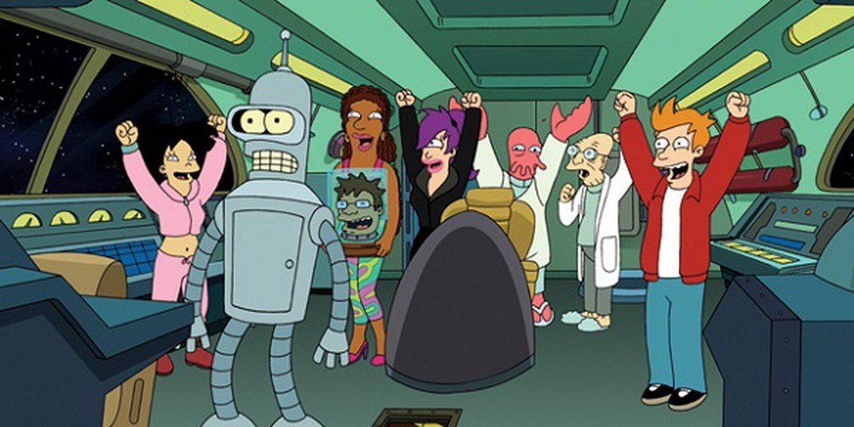 The cast of Futurama in one of their many spaceships.