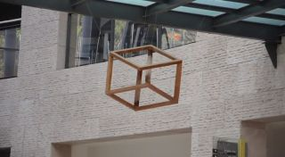 Screenshot of a wooden Necker cube