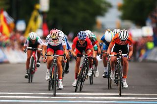 Great Britain's Lizzie Deignan – née Armitstead – sprints to victory in the elite women's road race at the 2015 UCI Road World Championships in Richmond, Virginia, in the USA