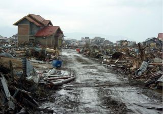 The aftermath of the Dec. 26, 2004 earthquake and tsunami that destroyed Banda Aceh, Sumatra, Indonesia.