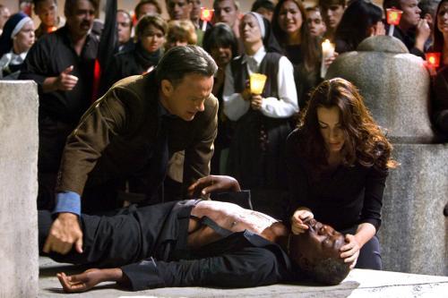 Angels & Demons - Tom Hanks' Robert Langdon & Ayelet Zurer's Vittoria Vetra go the aid of a stricken cardinal