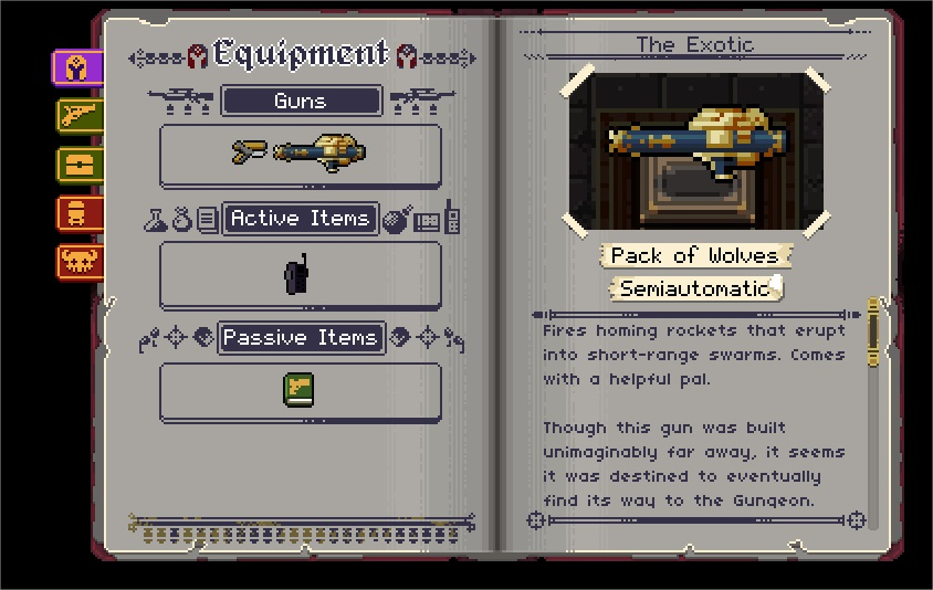 An exotic semiautomatic called the Pack of Wolves from Enter the Gungeon