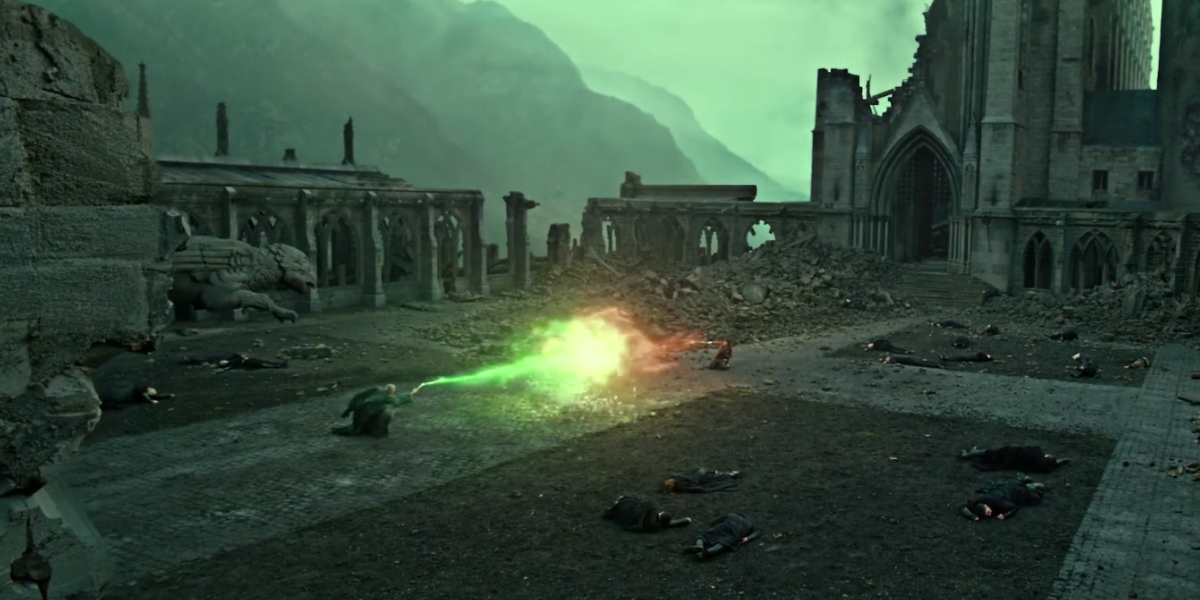 The battle of Hogwarts in Harry Potter and the Deathly Hallows - Part 2